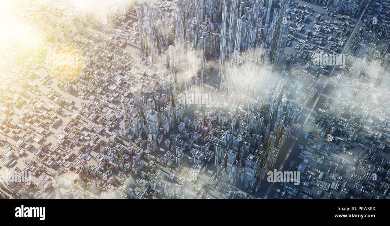 Aerial view of futuristic sci-fi city and commercial office building . 3d illustration rendering . Stock Photo
