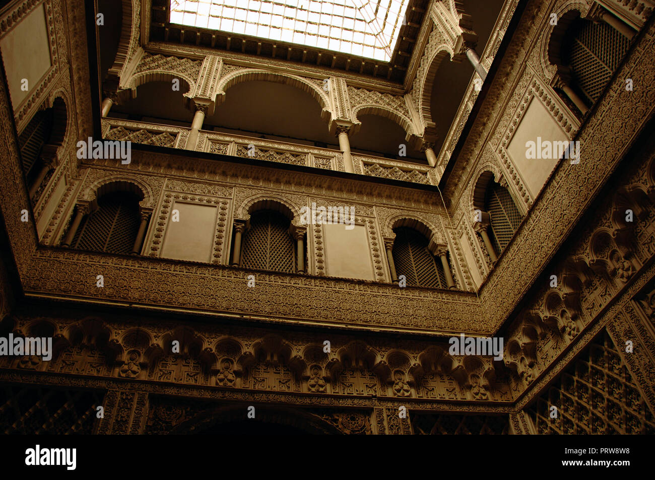 Spain. Andalusia. Seville. The Alcazar of Seville (Royal Alcazars). Dolls Courtyard, architectural detail. Mudejar style. It was designed to organise the rooms of the Palace private area, 14th century, and renovated between 1847 and 1855. - Stock Image