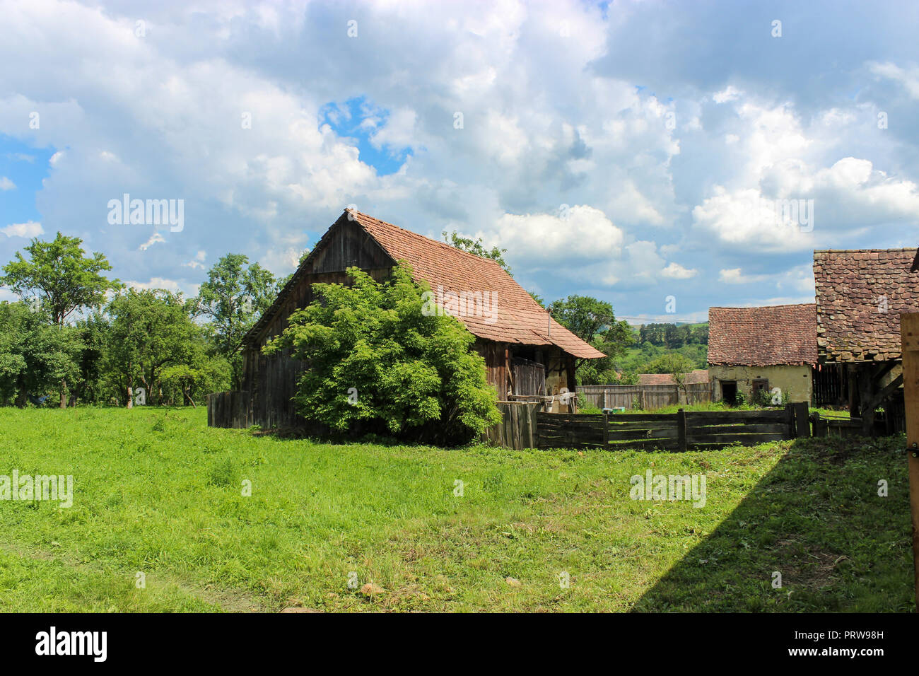 Old Saxon Rural House In Romanian Countryside - Stock Image