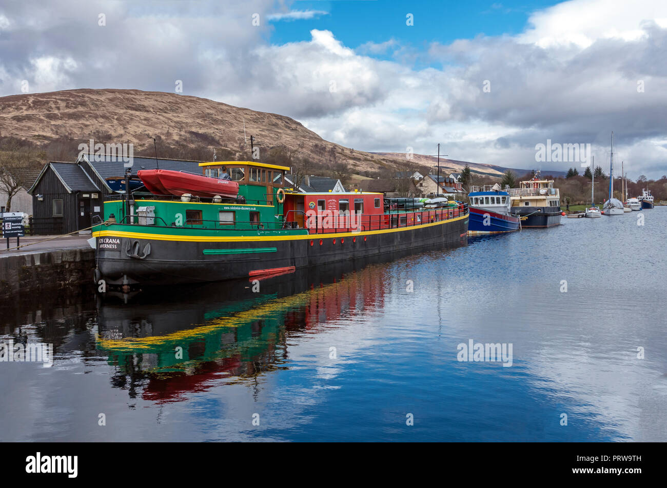 Ros Crana cruising holiday ship moored in the Caledonian Canal basin in Banavie near Fort William Highland West Highlands Scotland UK - Stock Image