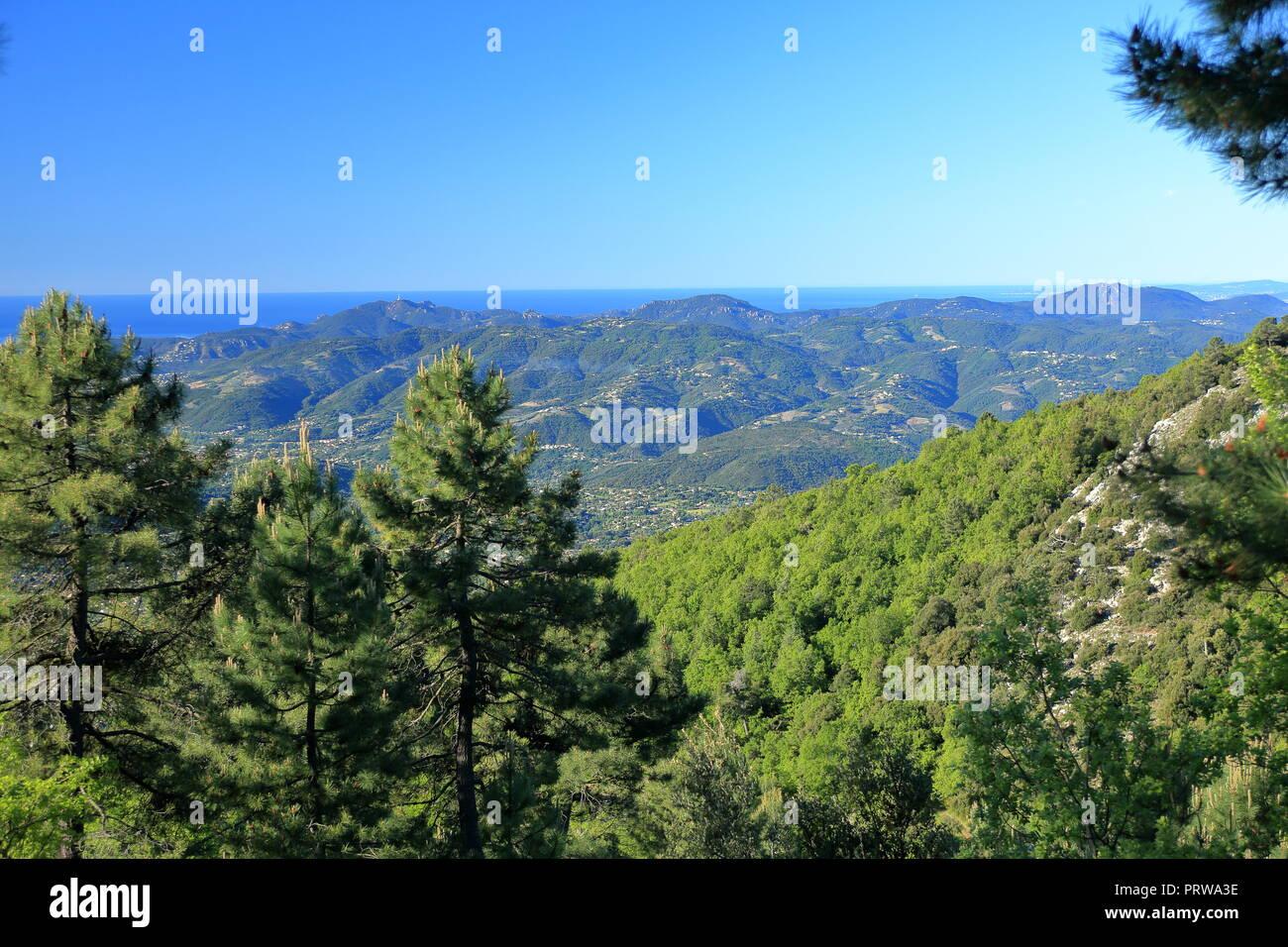 Overview above the Esterel, Prealpes d'Azur, 06, Alpes-Maritimes, Cote d'azur, PACA, - Stock Image