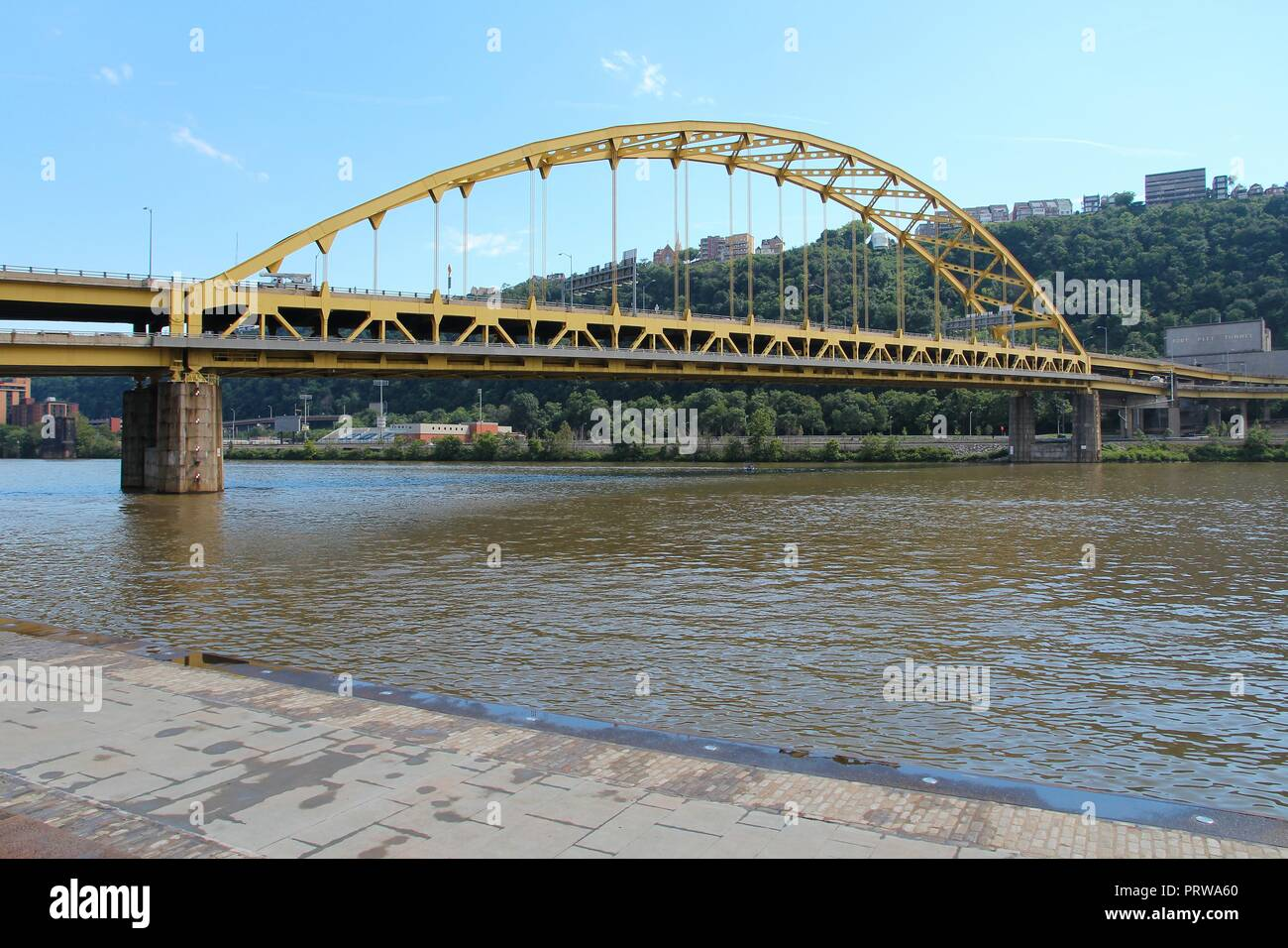 Pittsburgh, Pennsylvania - city in the United States. Fort Pitt bridge over Allegheny River. Double-decked bowstring arch bridge Stock Photo
