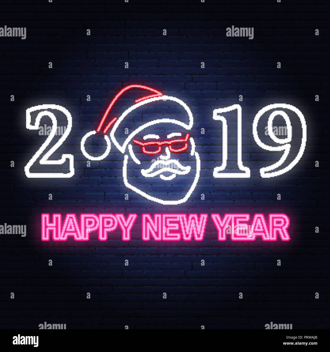 happy new year 2019 neon sign with santa claus vector for greeting