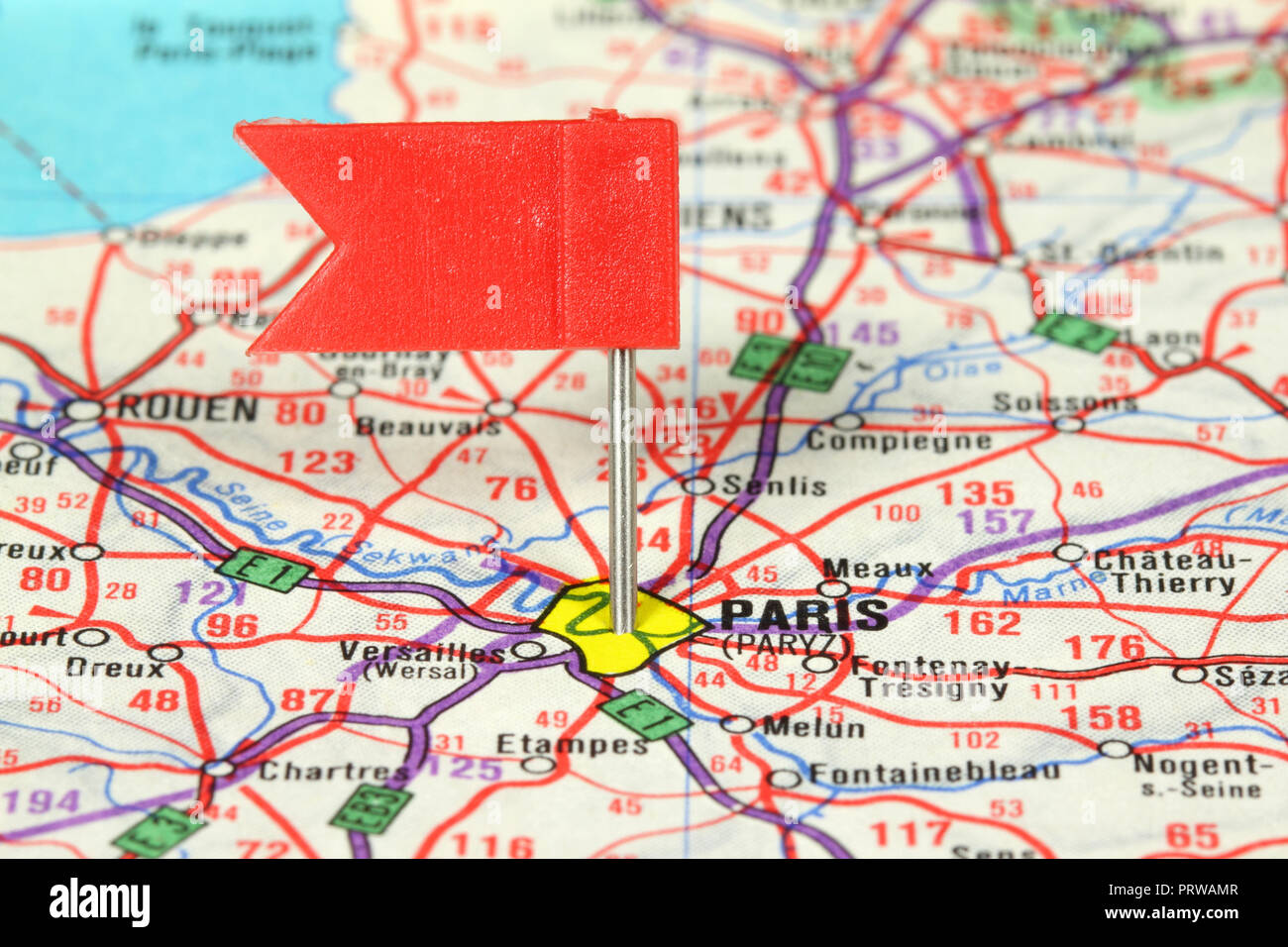 Map Of France Showing Paris.Paris Famous City In France Red Flag Pin On An Old Map Showing