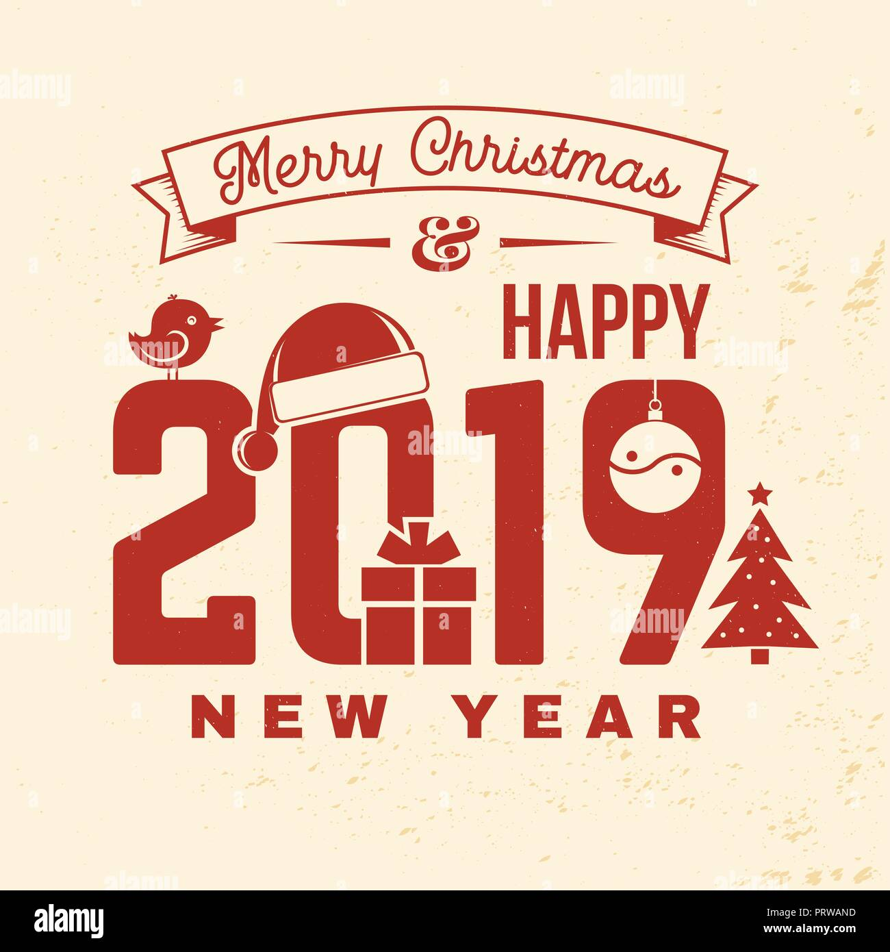 Merry Christmas 2019.Merry Christmas And 2019 Happy New Year Stamp Sticker Set