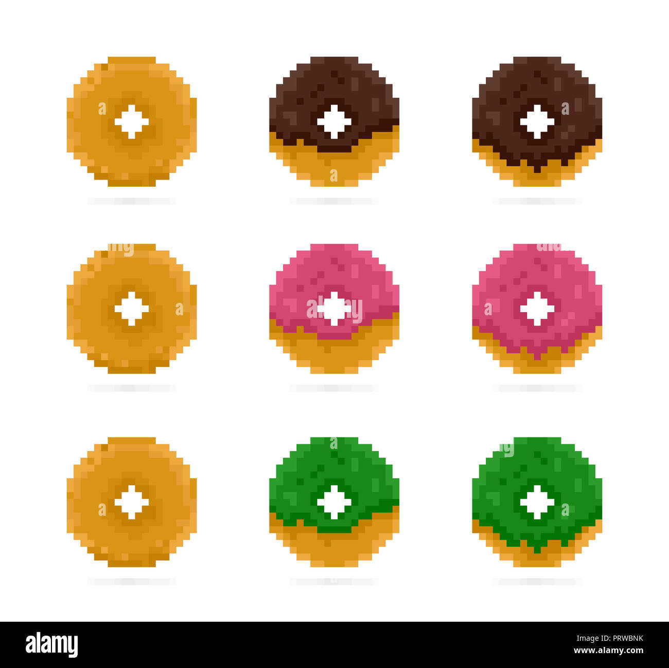 Colored Donuts Set In Pixel Art Style Pink Green And Brown Doughnut Dessert Sweets 8 Bit Icon