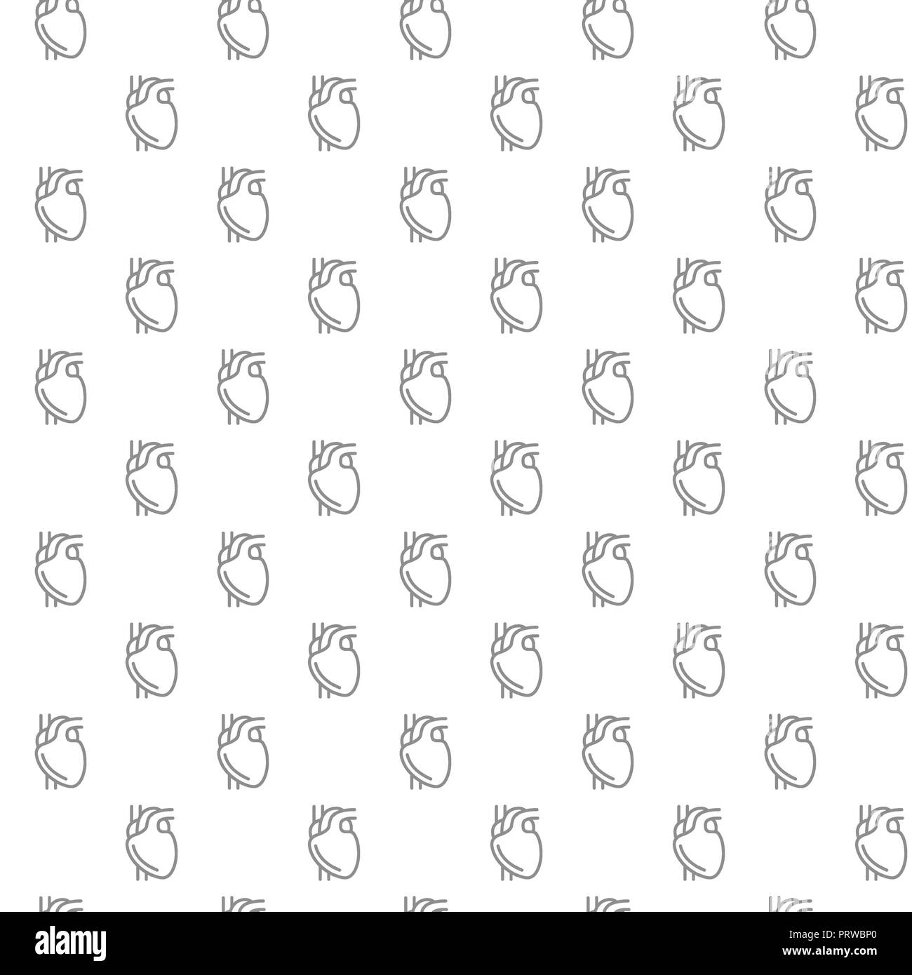 Unique heart seamless pattern with various icons and symbols on white background flat illustration - Stock Image
