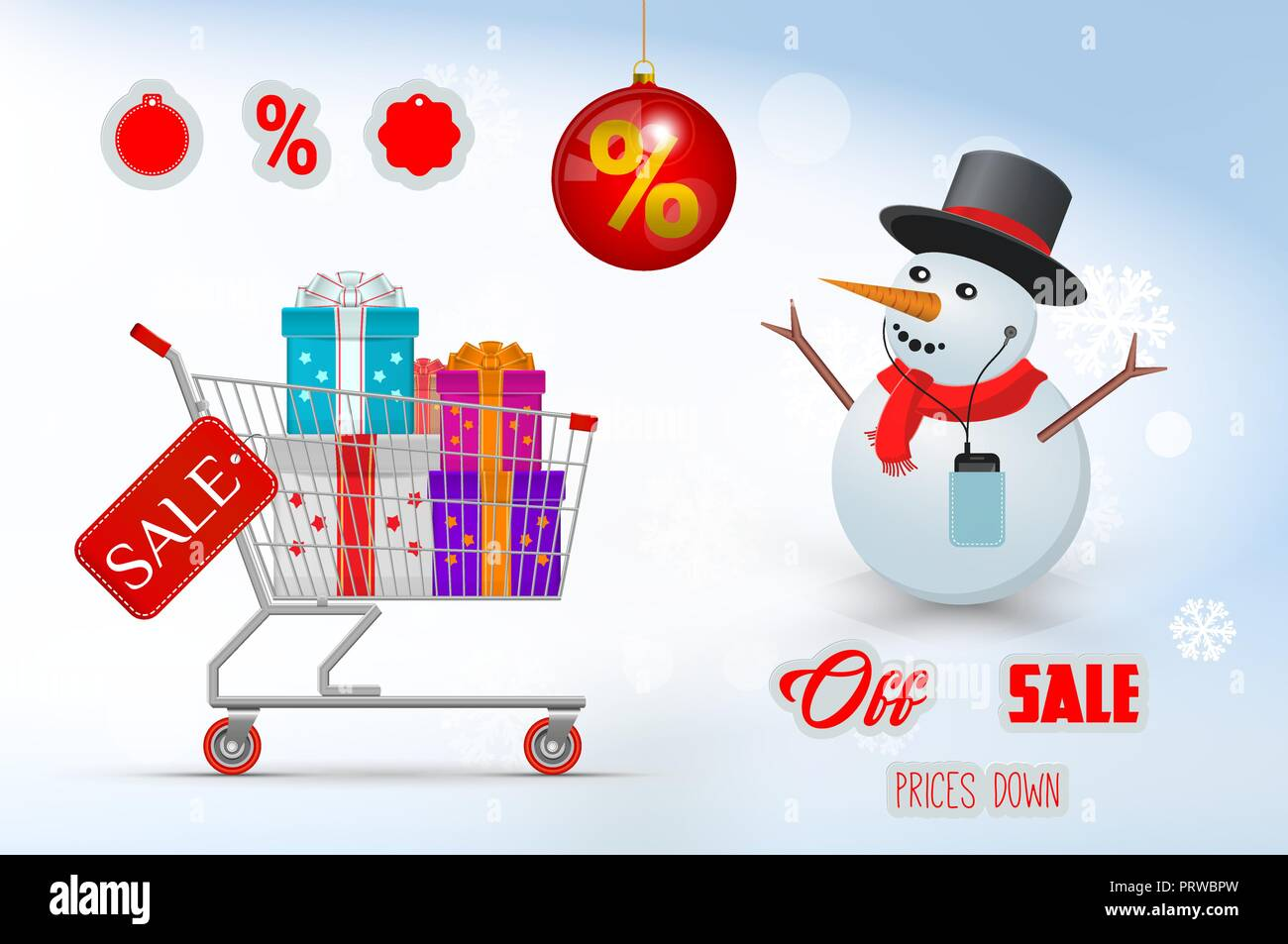 Christmas Sale Set. Cart with Gifts and Joyful Snowman. Merry ...