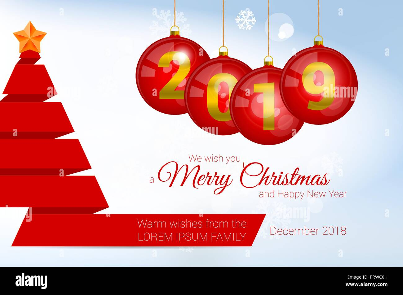 2019 Vector Christmas Greeting Card Template. Merry Christmas and ...