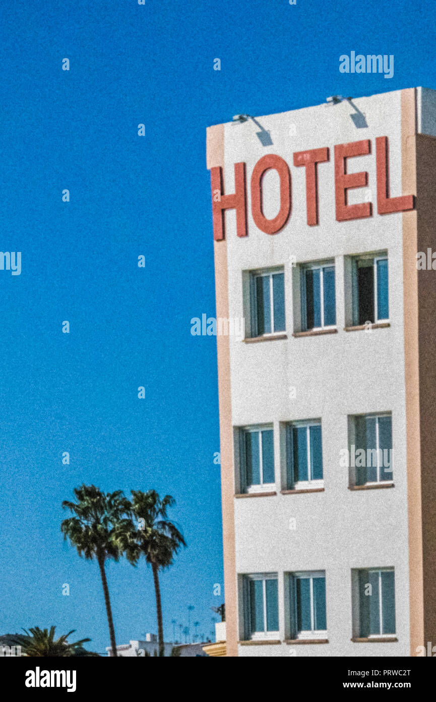 Hotel sign on wall of Balcon de Europa Hotel, Nerja, Costa del Sol, Malaga Province, Andalusia, southern Spain. - Stock Image