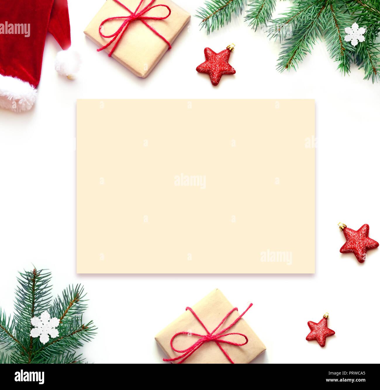 Christmas Top View.Christmas Composition Christmas Gift Stars And Fir Tree
