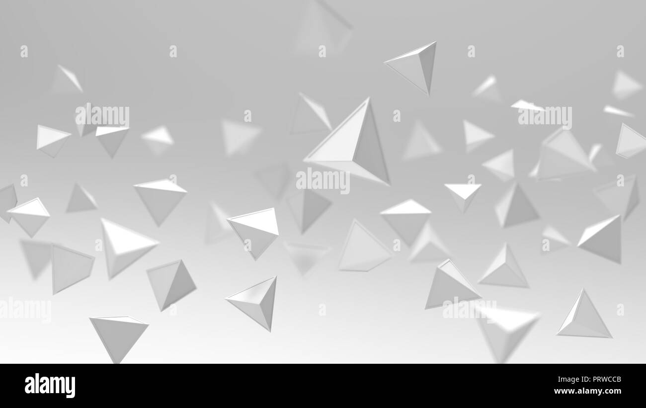 3d rendering of triangle geometric shapes , abstract high key and selected focus background . - Stock Image