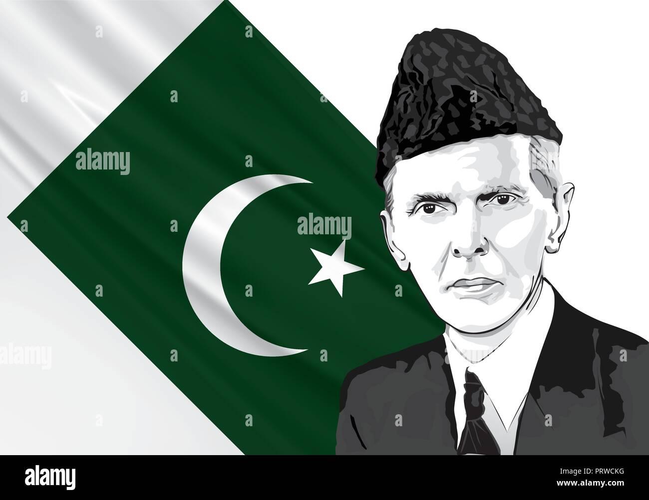 Muhammadali jinna. father of the nation Pakistan. - Stock Image