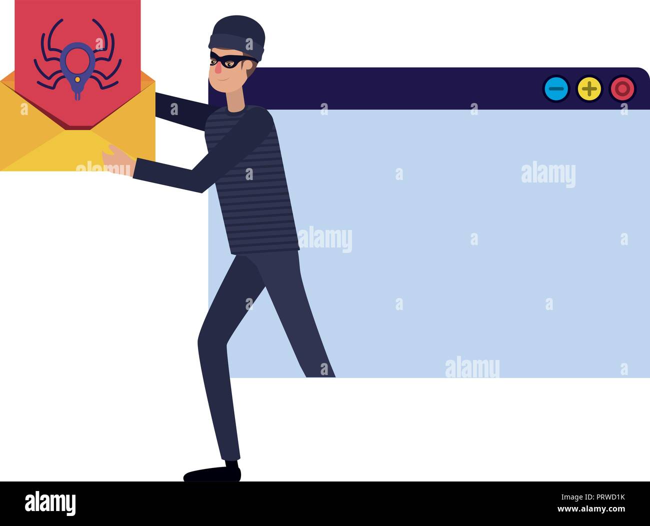 hacker stealing information avatar character - Stock Image