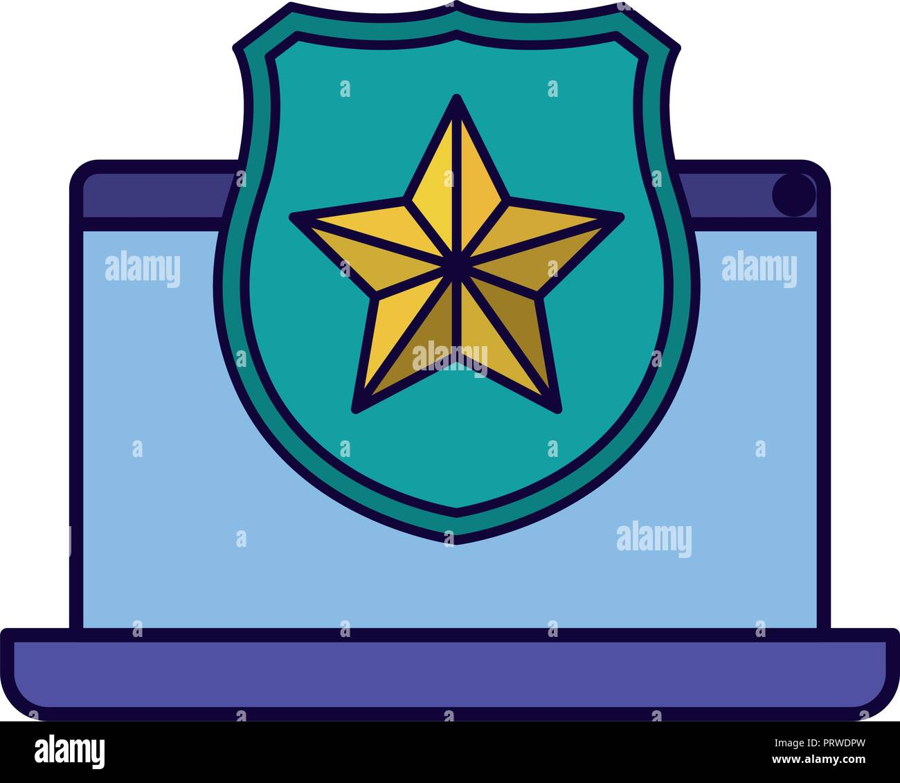 latop screen with open shield and star icon isolated stock vector