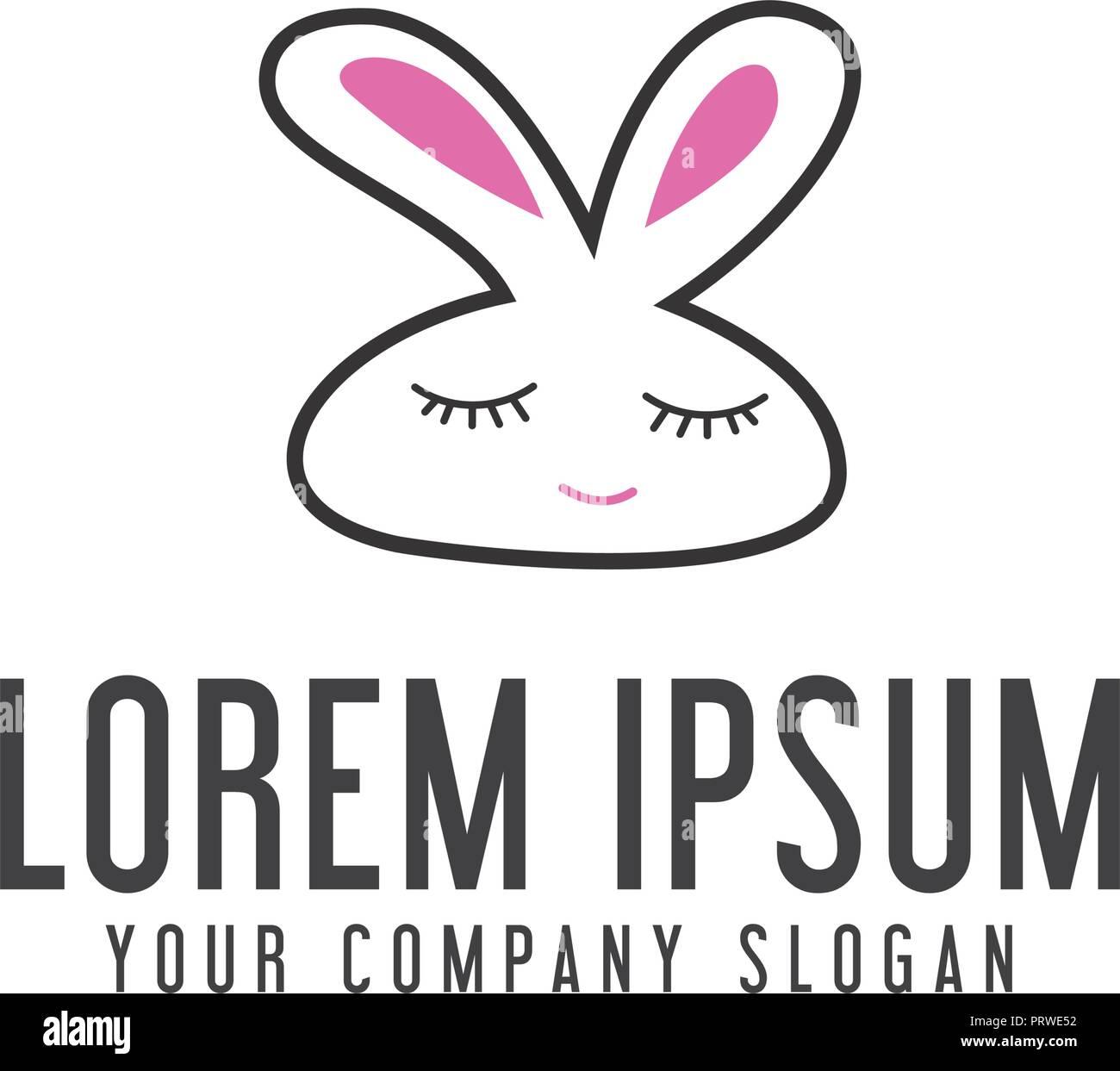 funny rabbit logo animal logo design concept template stock vector