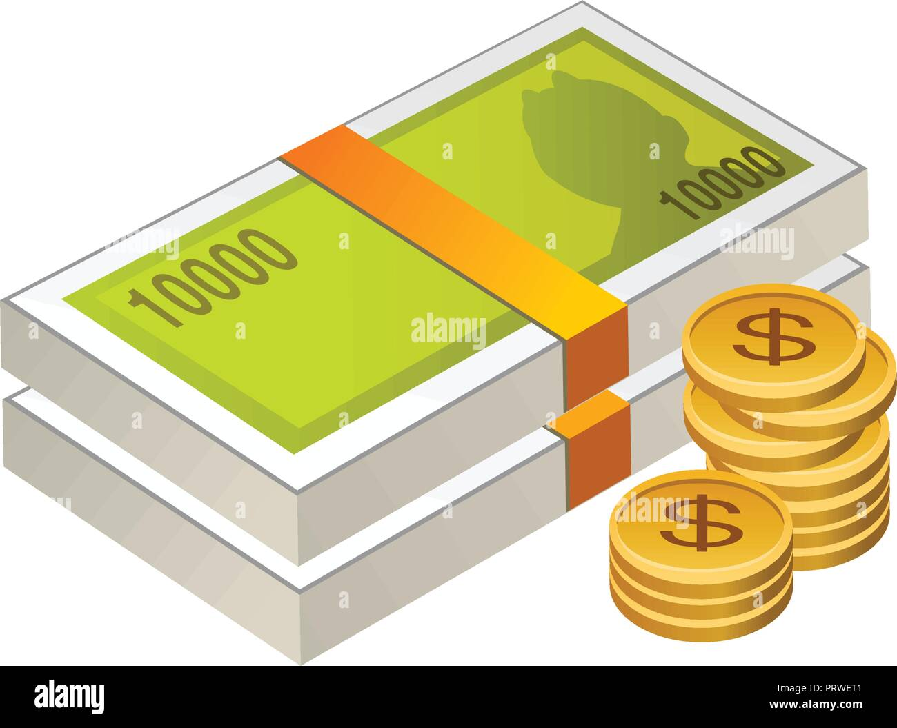 092124743d4a money cash and coins . Vector Illustration Isolated on White Background -  Stock Vector