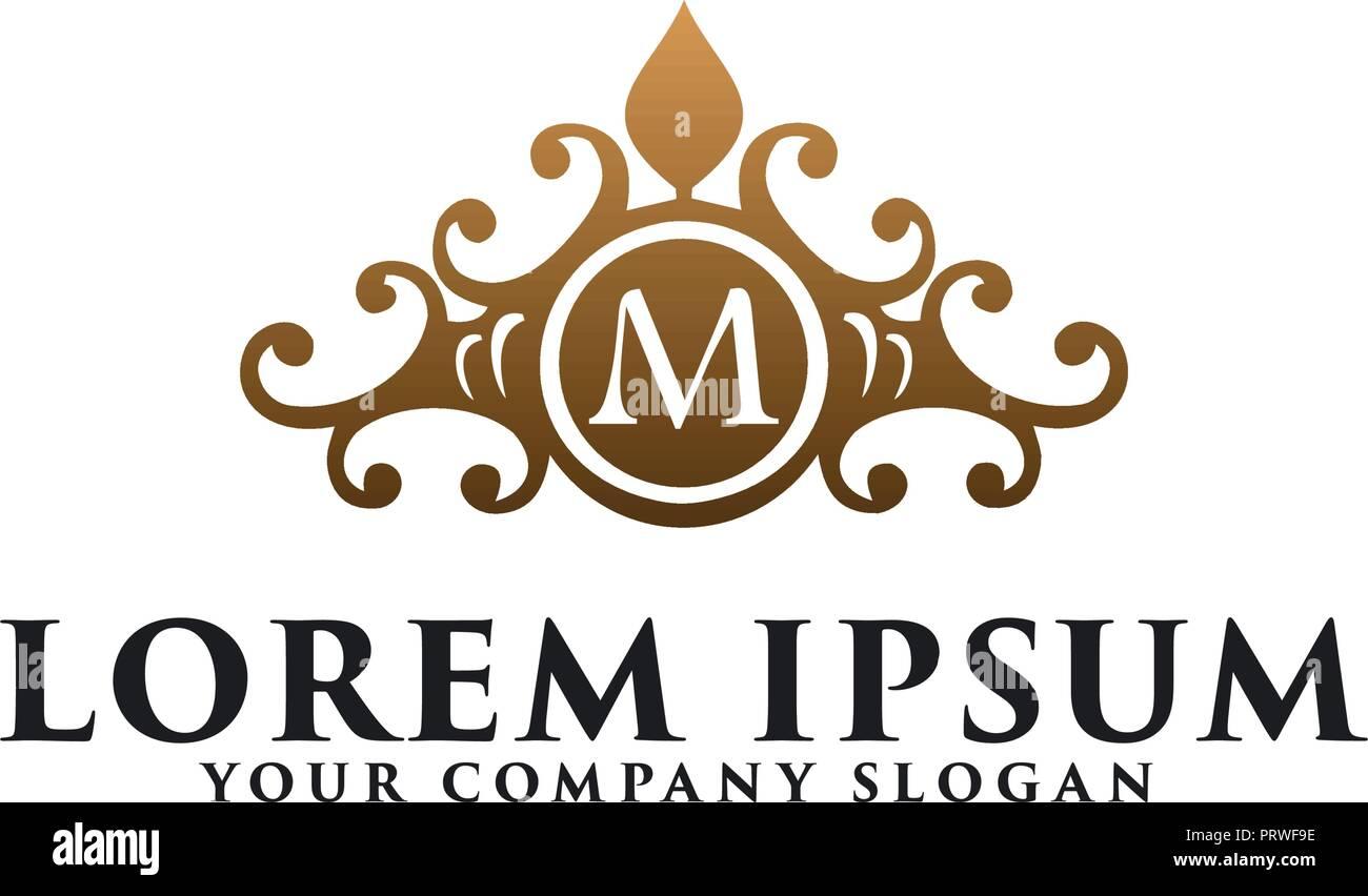 luxury vintage floral emblem with letter m hotel restaurant real