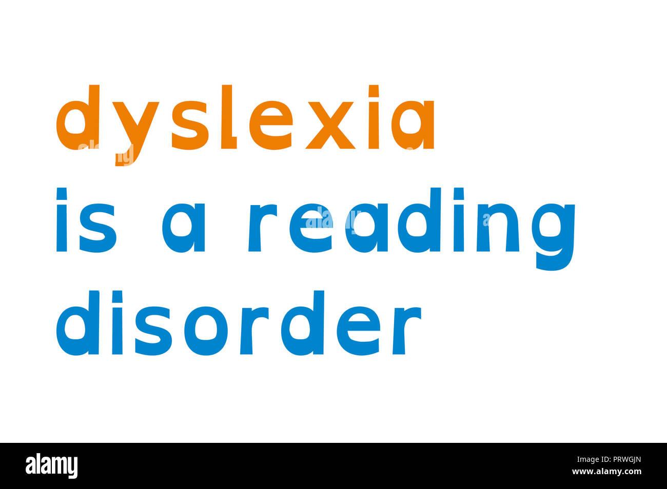 dyslexia, reading disorder concept - Stock Image