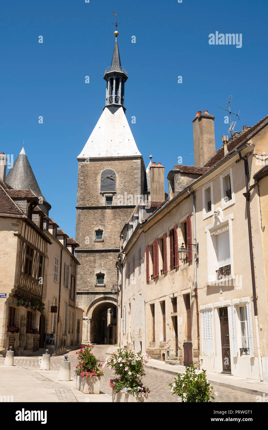 Clock tower and gateway in Avallon, Yonne, Burgundy, France, Europe - Stock Image