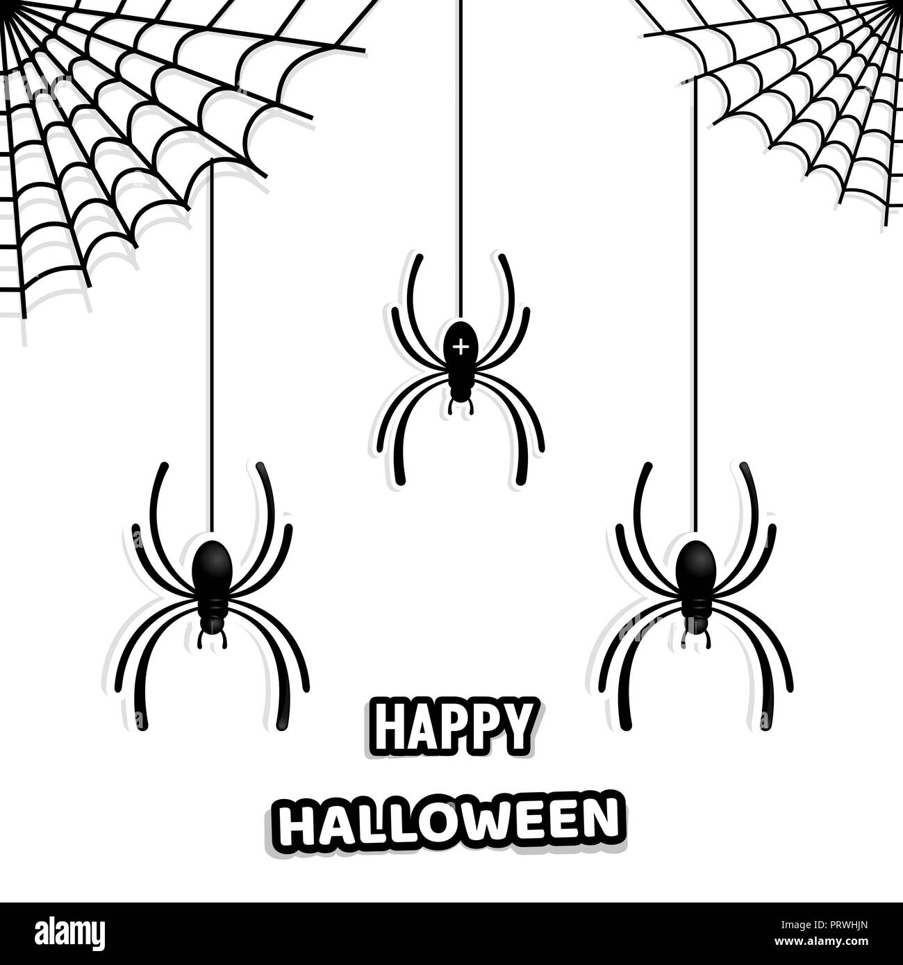 Set of stylish paper spiders for decorating a house on Halloween. Halloween design. Spider web and spiders. Vector illustration isolated on white back - Stock Vector