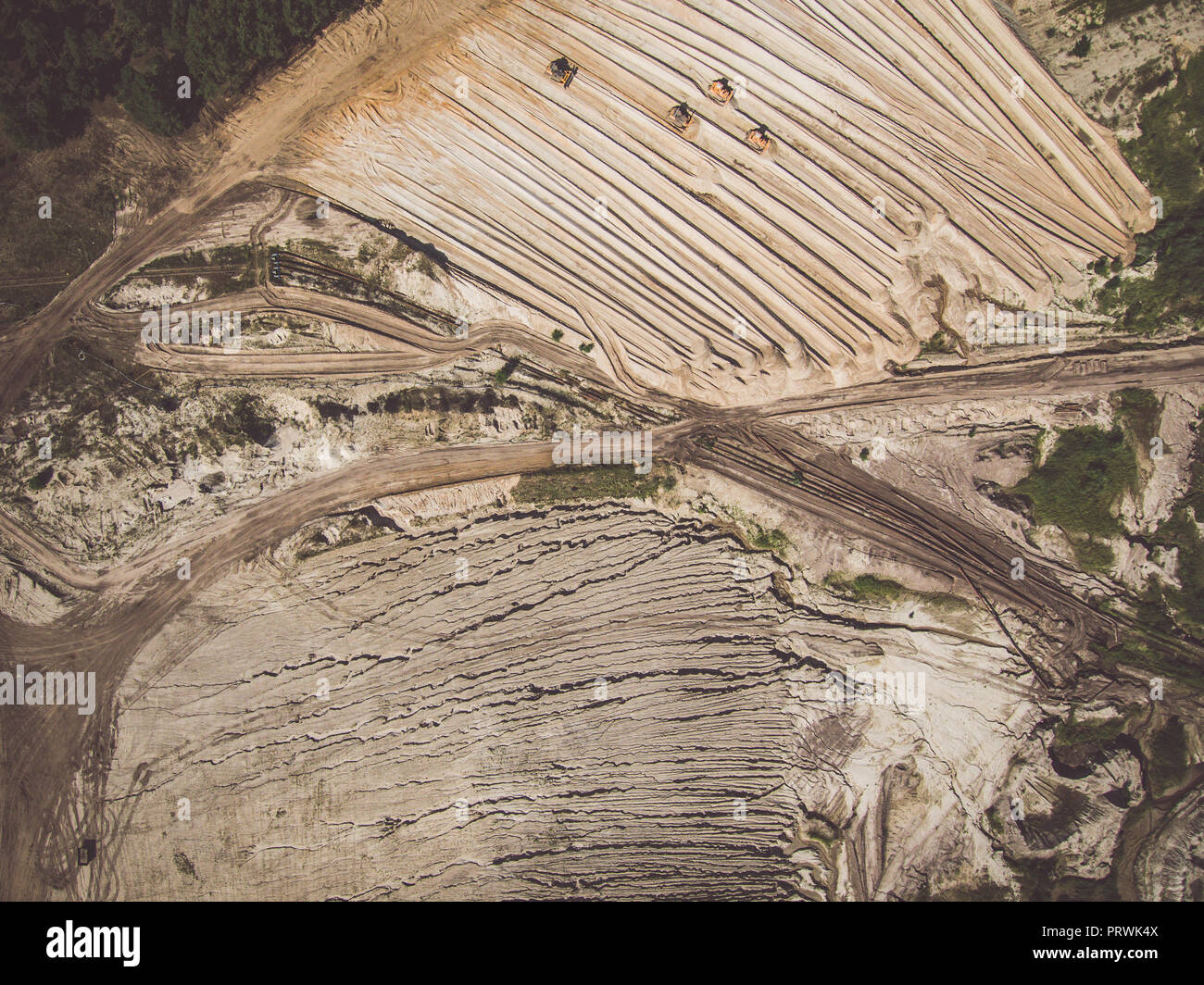 Abstract patterns of the earth around the opencast mine - Stock Image