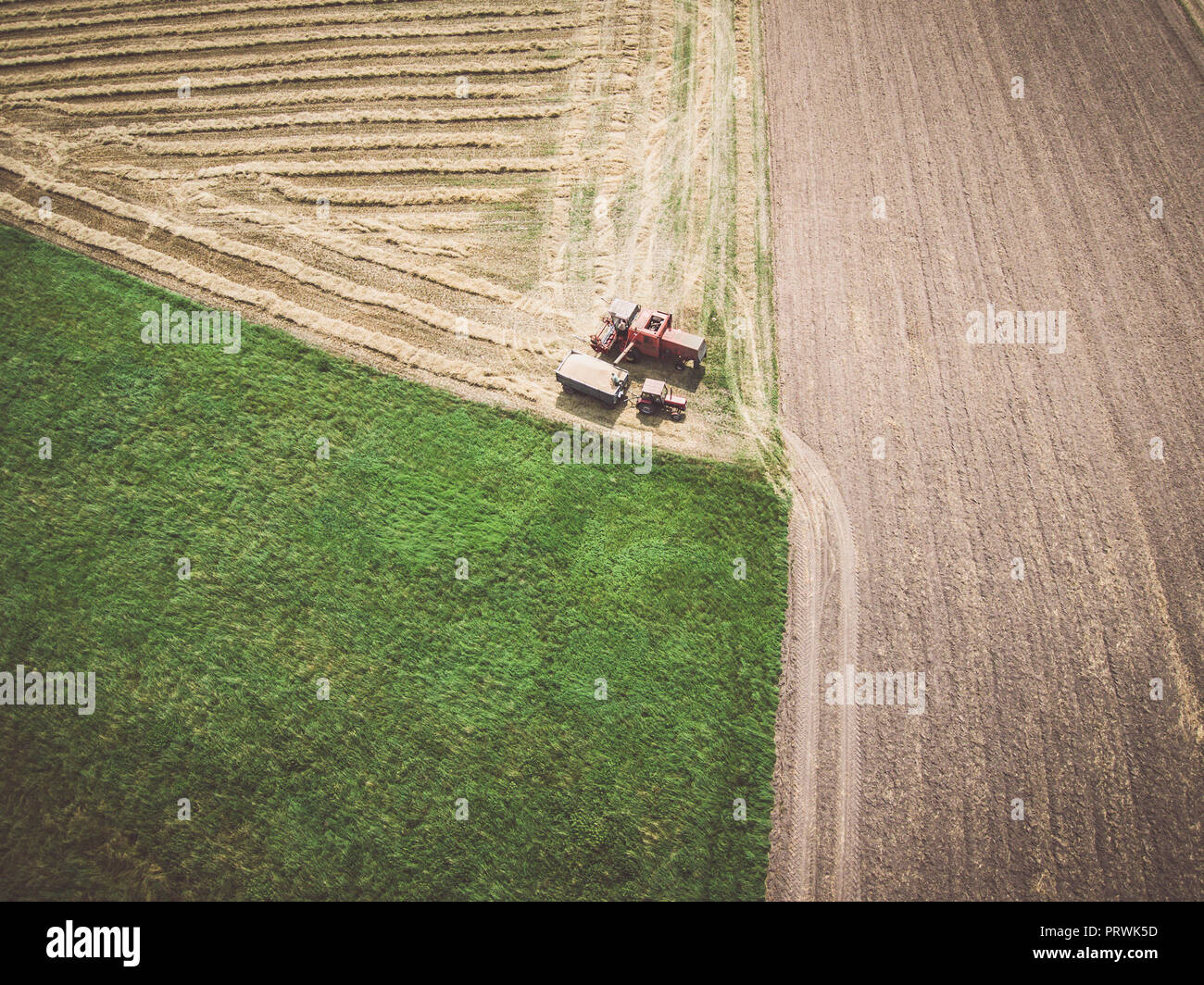 Aerial view of combine-harvester and tractor working in the field - Stock Image