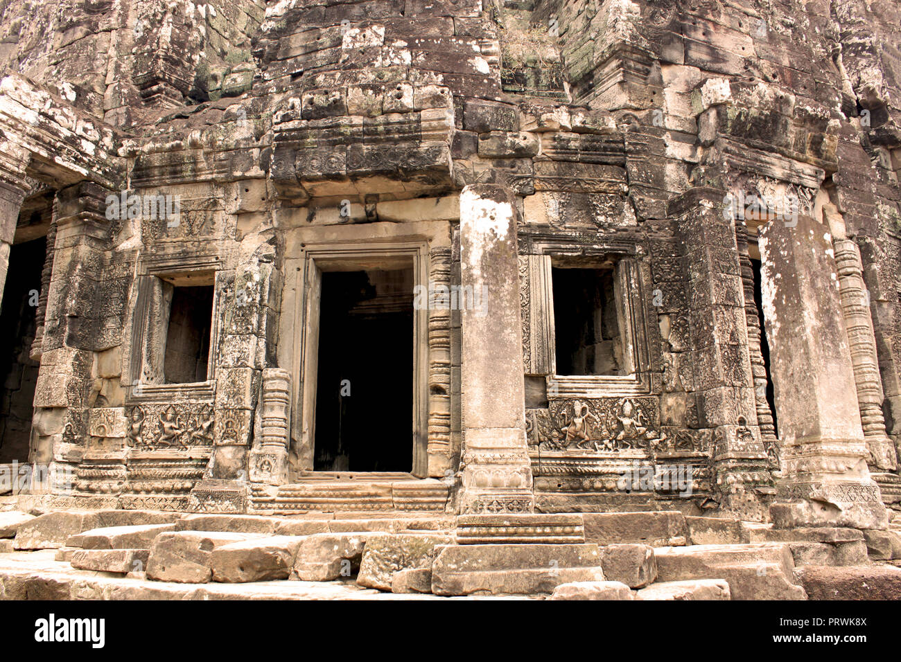Building of the ancient Angkor Thom Bayon Temple in the Angkor Area, near Siem Reap, Cambodia, Asia. Buddhist monastery from the 12th century. - Stock Image