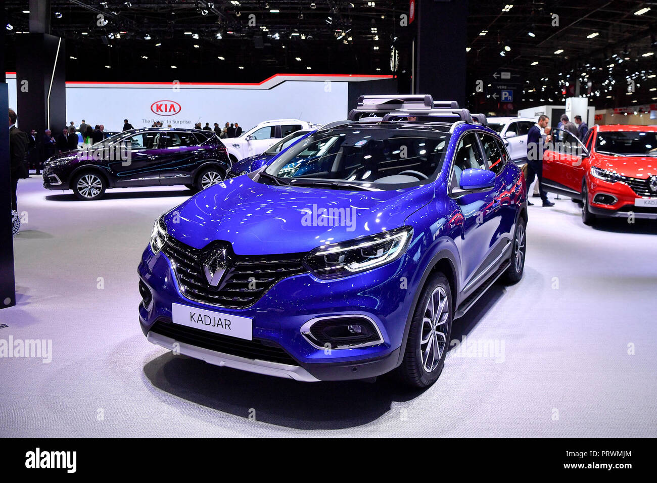 Paris. 3rd Oct, 2018. The newly released Renault's Kadjar is seen during the press day of Paris Motor Show in Paris, France on Oct. 3, 2018. Credit: Chen Yichen/Xinhua/Alamy Live News - Stock Image