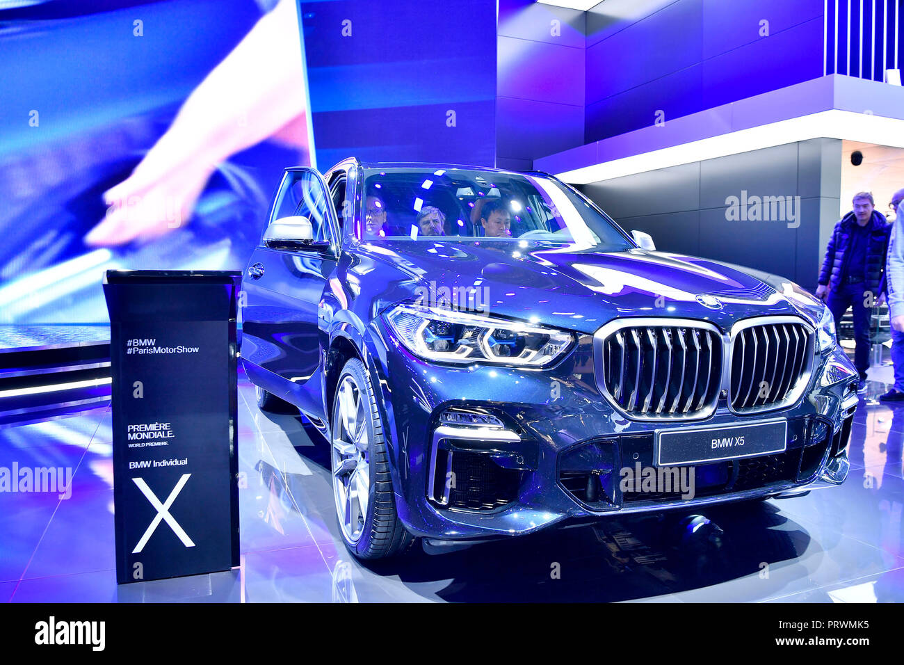 Paris. 3rd Oct, 2018. The newly released BMW's X5 is seen during the press day of Paris Motor Show in Paris, France on Oct. 3, 2018. Credit: Chen Yichen/Xinhua/Alamy Live News - Stock Image