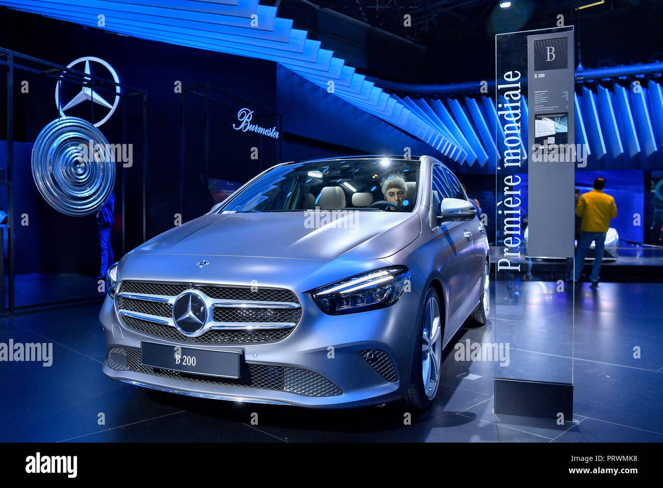Paris. 3rd Oct, 2018. The newly released Mercedes-Benz's B 200 is seen during the press day of Paris Motor Show in Paris, France on Oct. 3, 2018. Credit: Chen Yichen/Xinhua/Alamy Live News - Stock Image