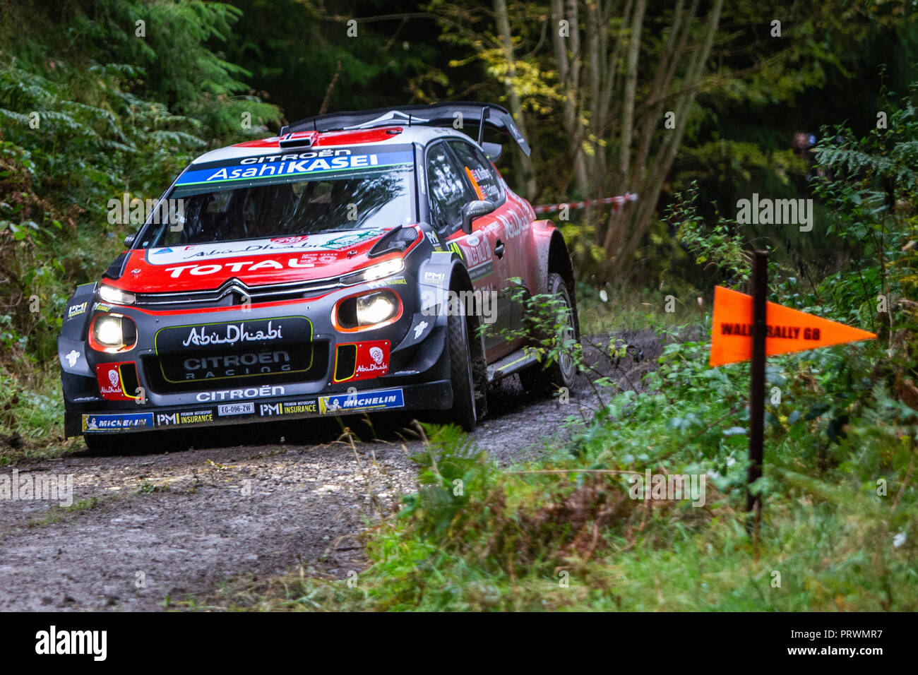 clocaenog uk 4th oct 2018 wrc dayinsure wales rally gb shakedown citroen total abu dhabi. Black Bedroom Furniture Sets. Home Design Ideas