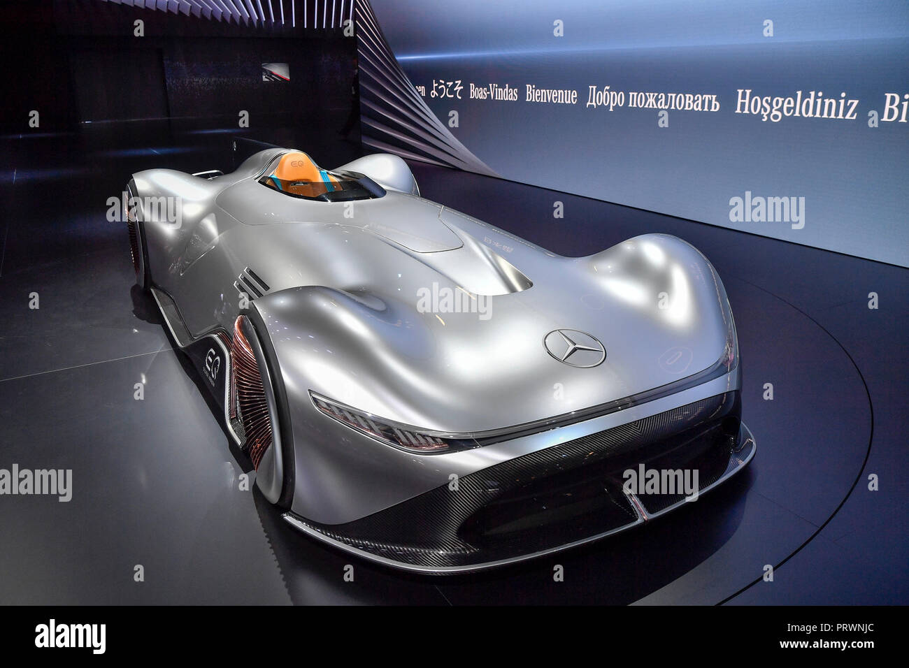 Paris. 2nd Oct, 2018. Photo taken on Oct. 2, 2018 shows a Benz's concept car, EQ Silver Arrow, during the Paris Motor Show in Paris, France. Credit: Chen Yichen/Xinhua/Alamy Live News Stock Photo