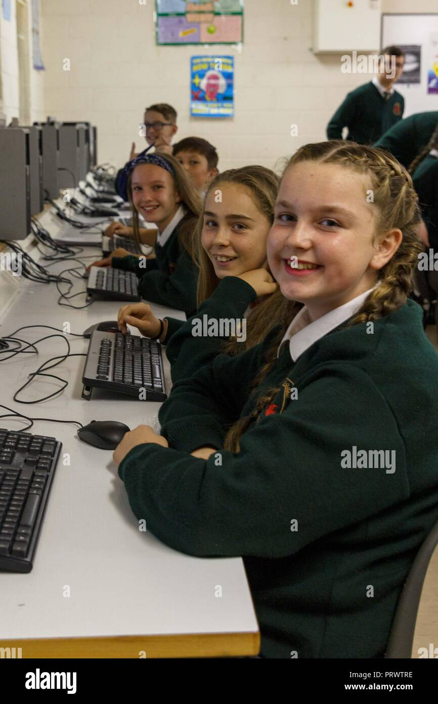 Cork, Ireland. 4th Oct, 2018.   St Aidans Open Night, Cork City. Pictured here (LtoR) is Ava Lee, Amy Cullinane, Tara Griffin, Christopher Leahy and Luke Roache in the computer room. At 7pm this evening St Aidans Community College, Dublin Hill opened its door to give potential students and their families a glimpse into life in St Aidans. Parents and incoming students had a chance to see the various departments throughout the school which opened their doors to show what they had to offer the incoming students. Credit: Damian Coleman/ Alamy Live News. - Stock Image