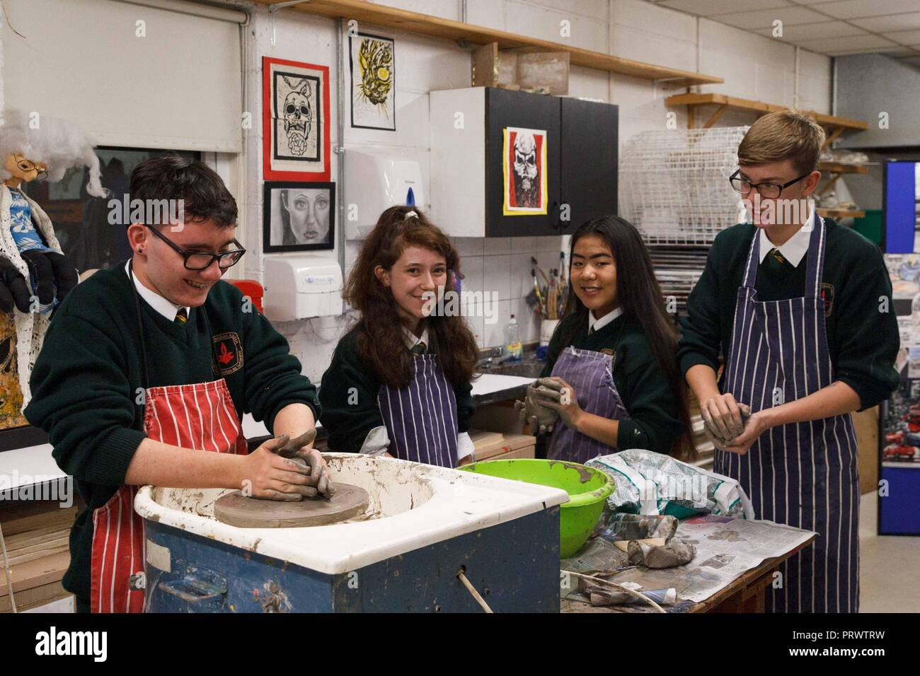 Cork, Ireland. 4th Oct, 2018.   St Aidans Open Night, Cork City. Pictured here (LtoR) is Paul O Mahony, Lauren Mc Carthy, Niamh Mulcahy and Kyle O Connell in the art room. At 7pm this evening St Aidans Community College, Dublin Hill opened its door to give potential students and their families a glimpse into life in St Aidans. Parents and incoming students had a chance to see the various departments throughout the school which opened their doors to show what they had to offer the incoming students. Credit: Damian Coleman/ Alamy Live News. - Stock Image