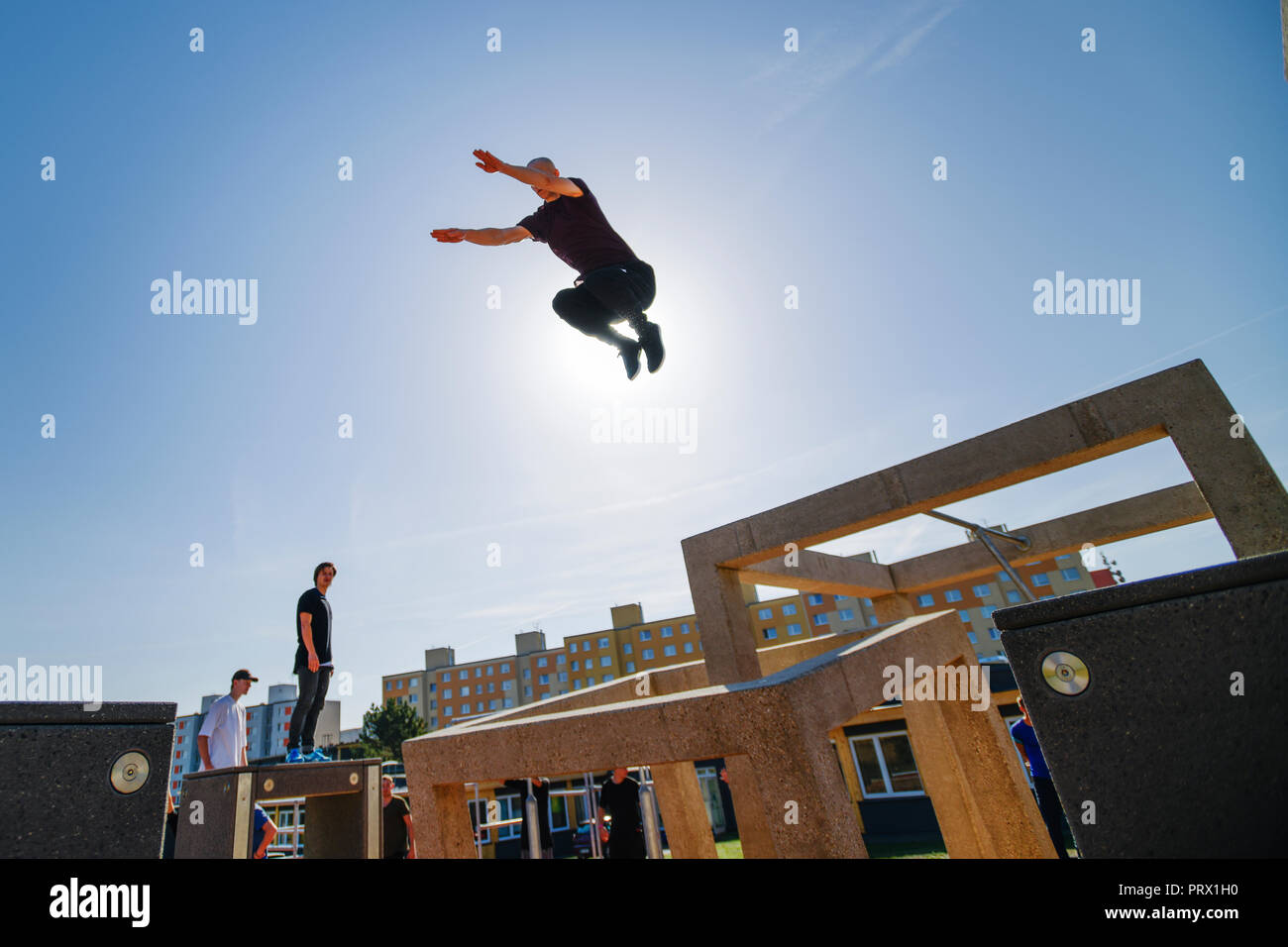Pilsen, Czech Republic. 04th Oct, 2018. A traceur perform in a new parkour park (playground) in Pilsen, Czech Republic, on October 4, 2018. The 600-square-metres park is one of the largest in Europe. Credit: Miroslav Chaloupka/CTK Photo/Alamy Live News - Stock Image