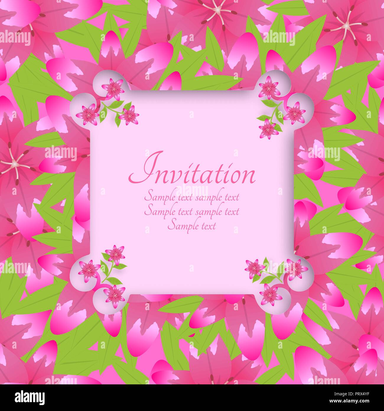 Template of an invitation colourful card with a background from flowers of lilies. Vector illustration. - Stock Image