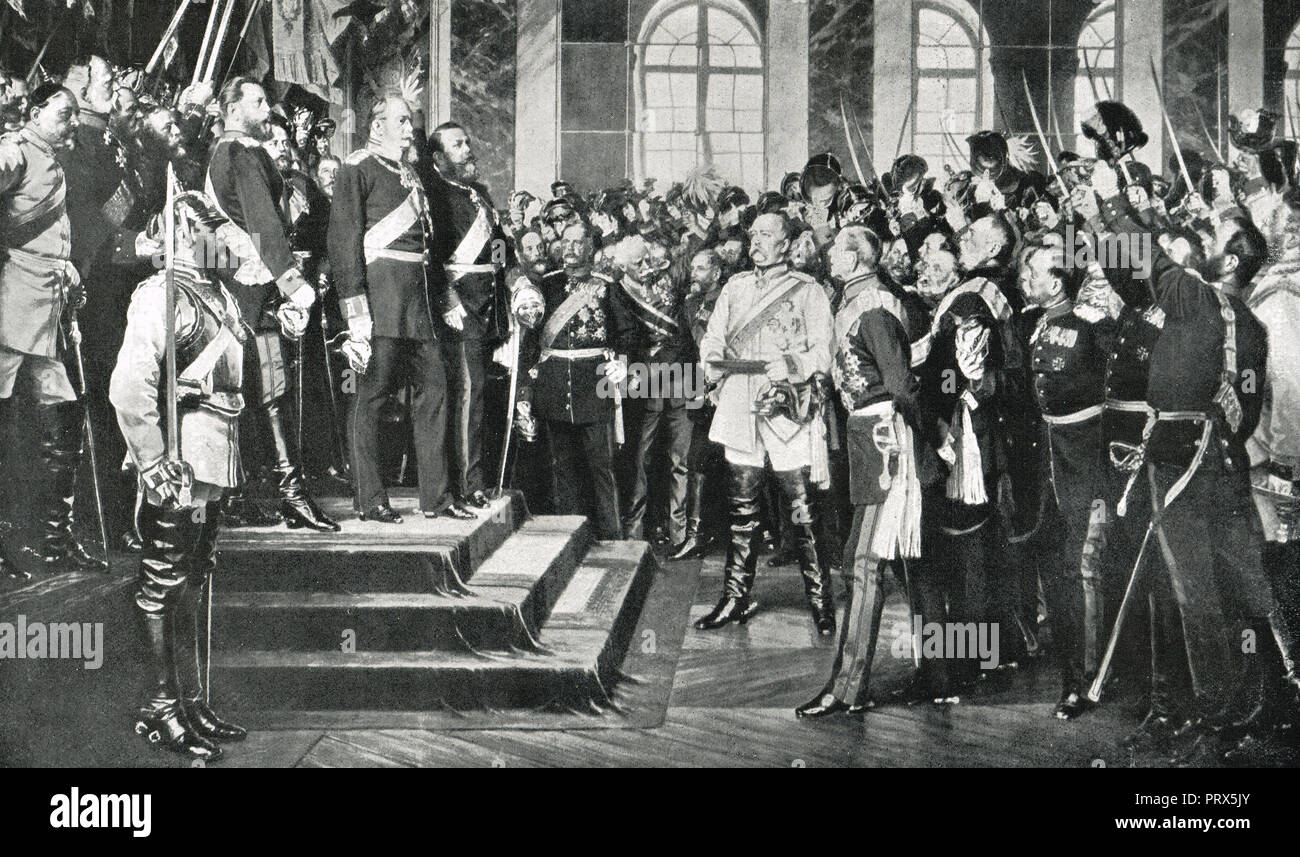 Proclamation of the German empire, Versailles, France, 18 January 1871 - Stock Image