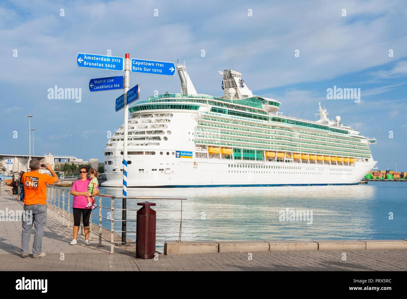 Navigator of the Seas cruise ship in Las Palmas port on Gran Canaria,Canary Islands, Spain - Stock Image