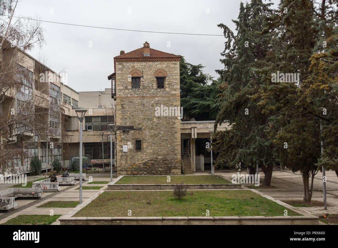 SKOPJE, REPUBLIC OF MACEDONIA - FEBRUARY 24, 2018:  Ruins of Feudal Tower in city of Skopje, Republic of Macedonia - Stock Image