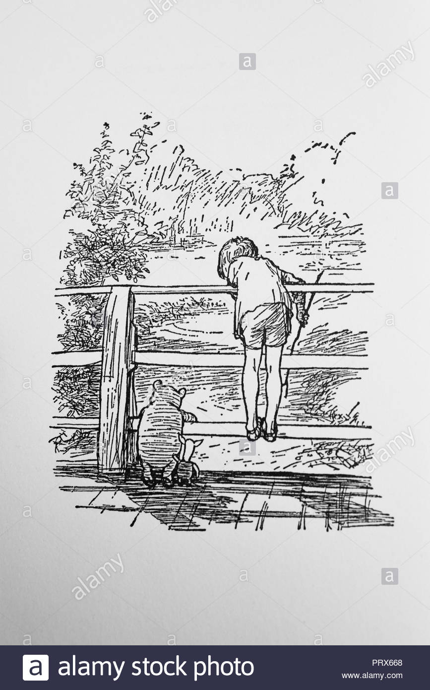 Poohsticks illustration in The House at Pooh Corner. Illustrated by EH Shepard, book by AA Milne. Winnie the Pooh and Christopher Robin on bridge - Stock Image