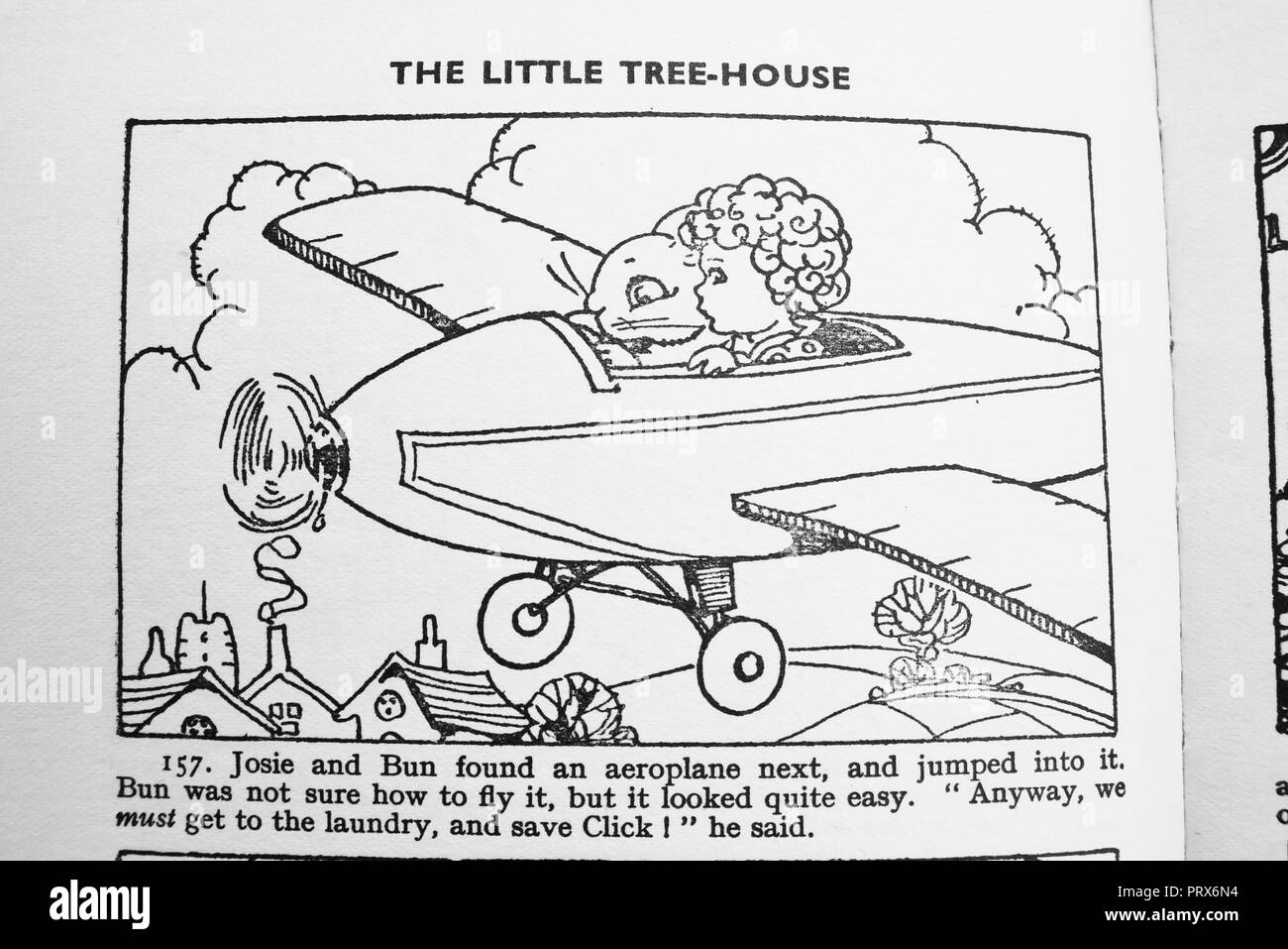Theft. Illustration and caption from Josie, Click and Bun and the Little Tree House by Enid Blyton. Stealing a plane. Illustrated by Dorothy M Wheeler - Stock Image