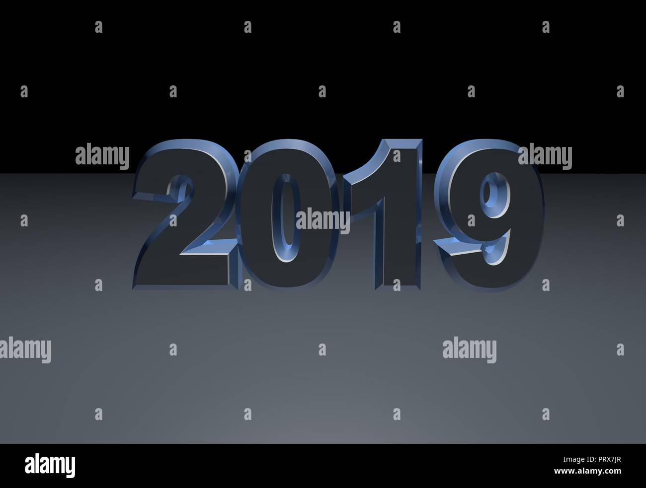 new year blue text 2019 3d rendering isolated on gray background