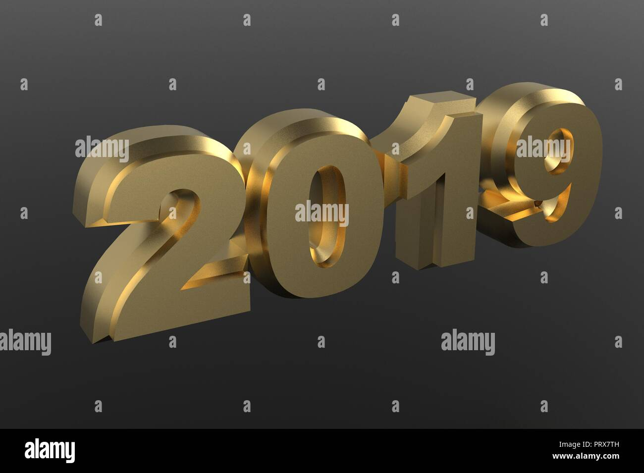 new year golden text 2019 3d rendering isolated on gray background