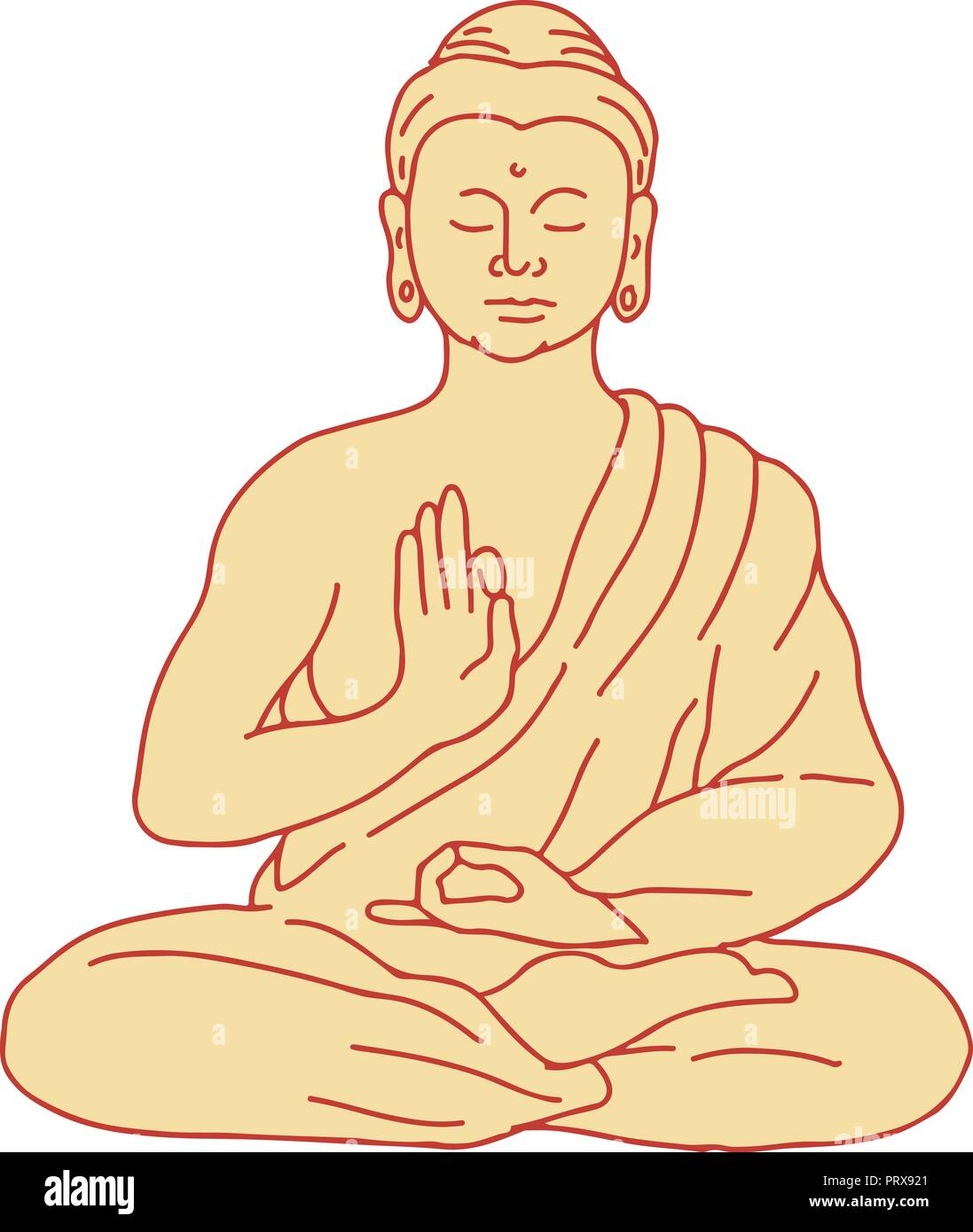 Drawing sketch style illustration of gautama buddha siddhartha gautama or shakyamuni buddha sitting in lotus position viewed from front on isolated b
