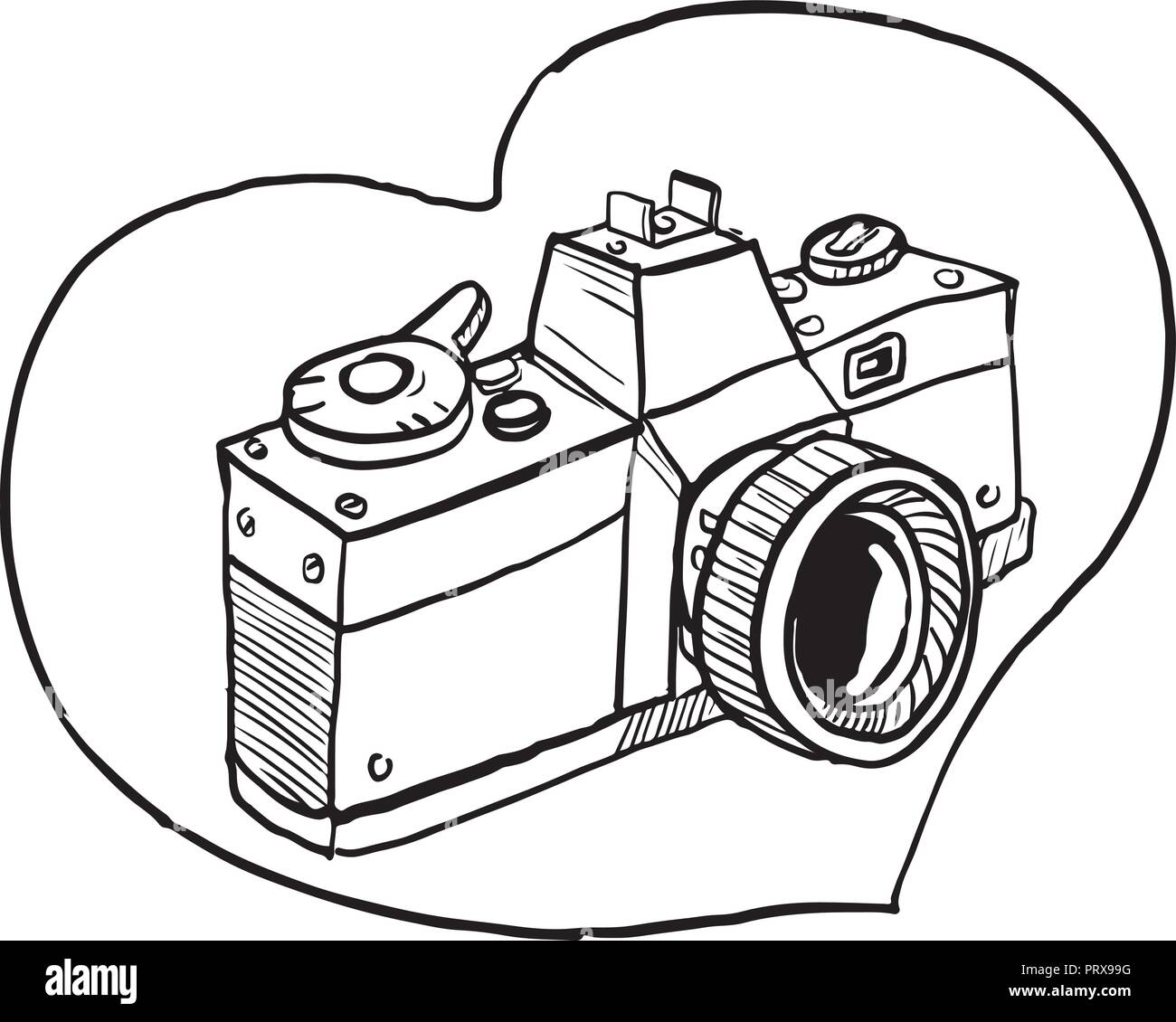 Drawing sketch style illustration of a vintage 35mm slr camera set inside heart shape on isolated background. - Stock Vector