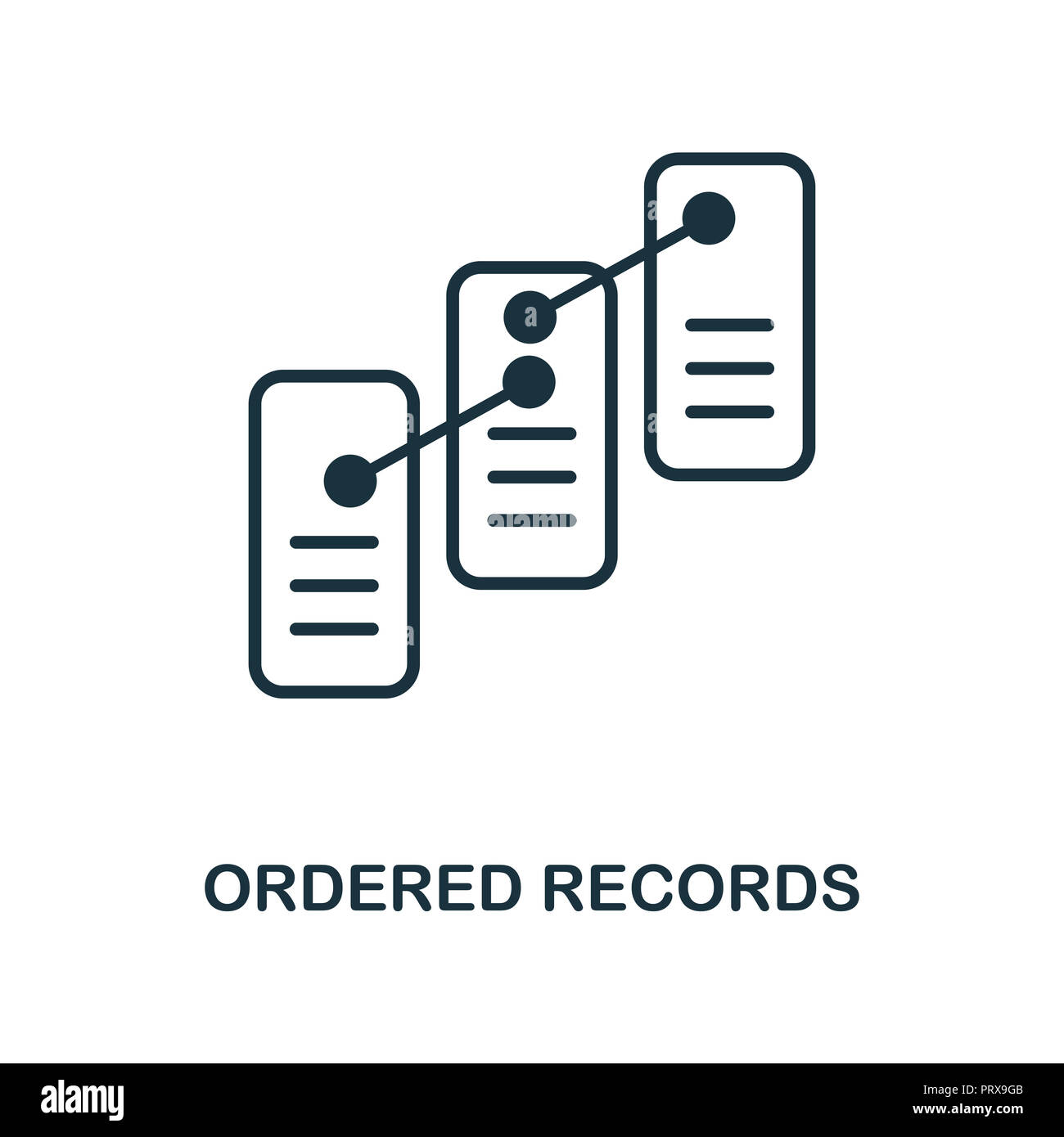 Ordered Records icon. Monochrome style design from blockchain collection. UX and UI. Pixel perfect ordered records icon. For web design, apps, softwar Stock Photo