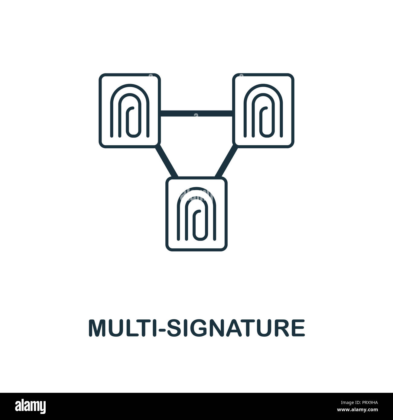 Multi-Signature icon. Monochrome style design from blockchain collection. UX and UI. Pixel perfect multi-signature icon. For web design, apps, softwar - Stock Image