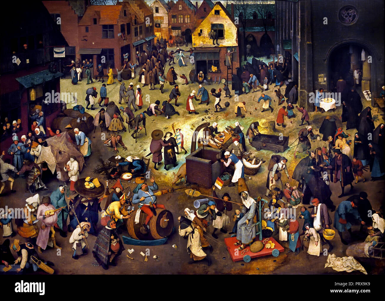 Fight between Carnival and Lent 1559 by Pieter Bruegel (also Brueghel) the Elder ( 1525-1530 –1569) was the most significant artist of Dutch and Flemish Renaissance painter, Belgium, Belgian, Dutch, The, Netherlands. - Stock Image