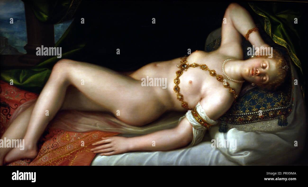 Sleeping Venus 1589-1608 Dirk de Quade van Ravesteyn Dutch The Netherlands ( Greek, Roman, mythology, (myths often consist of sacred narratives about gods), - Stock Image